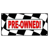 Pre-Owned Checkered Flag Cars Automotive Sales - Business Sign Banner