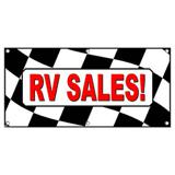 RV Sales RVs Checkered Flag Campers Motorhomes - Business Sign Banner