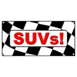 SUVs Checkered Flag Cars Automotive Sales - Business Sign Banner