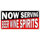 Now Serving Beer Wine Spirits Black Red - Restaurant Cafe Bar Business Sign Banner