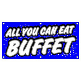 All You Can Eat Buffet - Blue with Dots Restaurant Cafe Bar Promotion Business Sign Banner