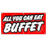All You Can Eat Buffet - Red with Dots Restaurant Cafe Bar Promotion Business Sign Banner