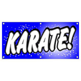 Karate - Martial Arts Blue with Dots Business Sign Banner
