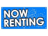 Now Renting - Apartments Condos Blue with Dots Business Sign Banner