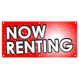 Now Renting - Red with Dots Apartments Condos Business Sign Banner