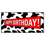Happy Birthday Cow Print - Party Celebration Banner