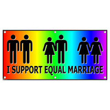 I Support Equal Marriage Rainbow Gay Lesbian Pride Party Celebration Banner