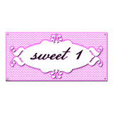 Sweet 1 One 1st First Happy Birthday Chevron Pattern Pink Girl - Party Celebration Banner