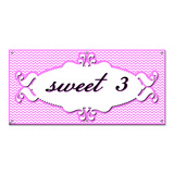 Sweet 3 Three 3rd Third Happy Birthday Chevron Pattern Pink Girl - Party Celebration Banner