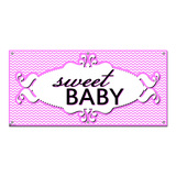 Sweet Baby Chevron Pattern Pink Girl - Shower Party Celebration Banner