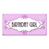 Birthday Girl Chevron Pattern Pink - Party Celebration Banner