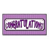 Congratulations Houndstooth Purple - Retirement Graduation Promotion Party Celebration Banner