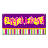 Congratulations Girl Colorful - Retirement Promotion Graduation Party Celebration Banner