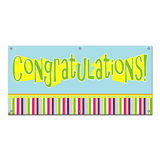 Congratulations Boy Colorful - Retirement Promotion Graduation Party Celebration Banner