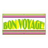Bon Voyage Colorful Stripes - Celebration Party Banner