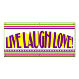 Live Laugh Love Colorful Stripes - Engagement Bridal Shower Wedding Celebration Party Banner