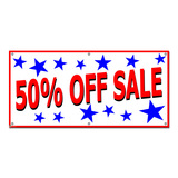 50 Percent Off Sale with Stars Patriotic - Retail Store Business Sign Banner