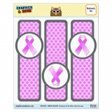 Breast Cancer Pink Ribbon Glossy Laminated Bookmarks - Set of 3