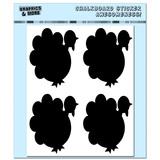 Turkeys - Thanksgiving - 4 Sheets Chalkboard Stickers