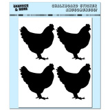 Roosters Chickens - 4 Sheets Chalkboard Stickers