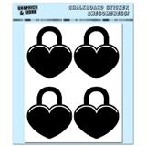 Hearts Padlock - Love Valentines Shower Wedding - 4 Sheets Chalkboard Stickers