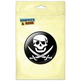 Pirate Skull Crossed Swords Jolly Roger Pinback Button Pin Badge