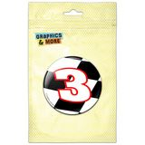Number 3 Checkered Flag Racing Pinback Button Pin Badge