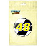 Number 48 Checkered Flag Racing Pinback Button Pin Badge