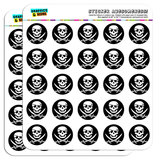 "Pirate Skull Crossed Swords Jolly Roger 1"" Scrapbooking Crafting Stickers"