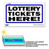Lottery Tickets Here - 12 in x 6 in - Laminated Sign Window Business Sticker