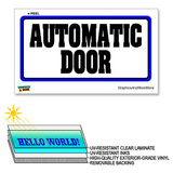 Automatic Door - 12 in x 6 in - Laminated Sign Window Business Sticker