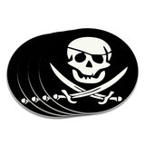 Pirate Skull Crossed Swords Jolly Roger Coaster Set