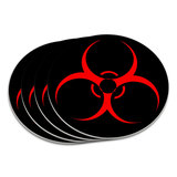 Biohazard Warning Symbol Zombie Radioactive Coaster Set