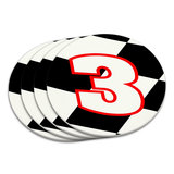 Number 3 Checkered Flag Racing Coaster Set