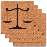 Balanced Scales of Justice Symbol Legal Lawyer B&W Low Profile Cork Coaster Set