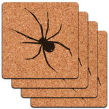 Spider - Black on White Low Profile Cork Coaster Set
