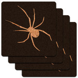 Spider - White on Black Low Profile Cork Coaster Set