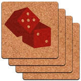 Dice Craps Gambling on White Low Profile Cork Coaster Set