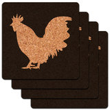 Rooster Cock Low Profile Cork Coaster Set