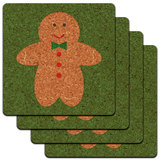 Cute Gingerbread Man Cookie Christmas Low Profile Cork Coaster Set