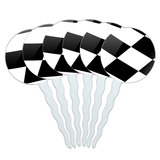 Checkered Flag Racing Cupcake Picks Toppers - Set of 6