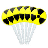 Radioactive Nuclear Warning Symbol Cupcake Picks Toppers - Set of 6