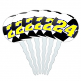 Number 24 Checkered Flag Racing Cupcake Picks Toppers - Set of 6