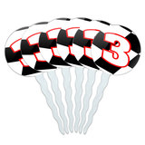 Number 3 Checkered Flag Racing Cupcake Picks Toppers - Set of 6
