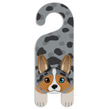 Blue Merle Cardigan Welsh Corgi Dog Do Not Disturb Plastic Door Knob Hanger Sign - Blank