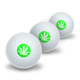 Marijuana Pot Weed Leaf - Green Novelty Golf Balls 3 Pack