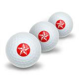 Nautical Star - Red Novelty Golf Balls 3 Pack