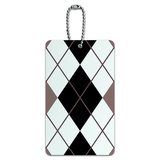 Argyle Hipster Black White - Preppy ID Card Luggage Tag