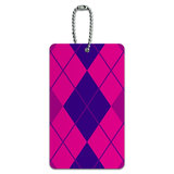 Argyle Hipster Purple Fuchsia - Preppy ID Card Luggage Tag
