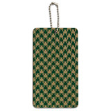 Preppy Houndstooth Teal Gray Wood ID Card Luggage Tag